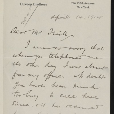 Letter from Joseph Duveen to Henry Clay Frick, 14 April 1914
