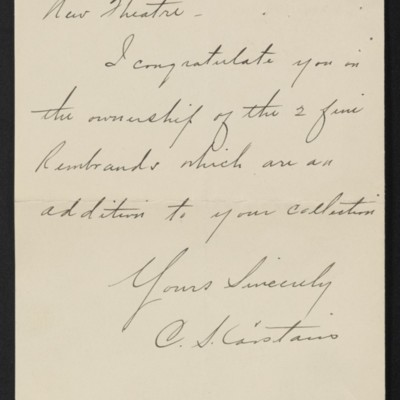 Letter from C.S. Carstairs to [Henry Clay] Frick, 7 January 1911 [page 2 of 2]