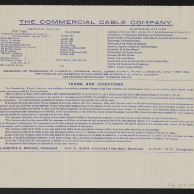 Cable from [C.S.] Carstairs to [Henry Clay] Frick, 6 July 1914 [back]