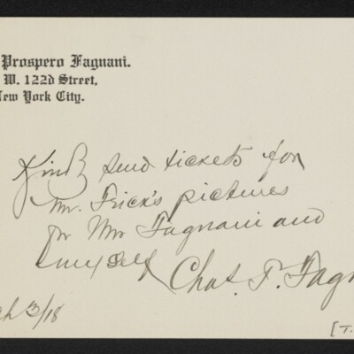 Note from Charles Prospero Fagnani, 3 March 1918