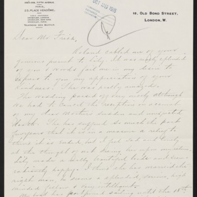 Letter from Charles S. Carstairs to Henry Clay Frick, 8 October 1915