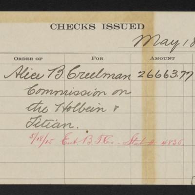 Memorandum for check issued to Alice Creelman, 18 May 1915