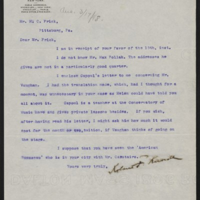 Letter from Roland F. Knoedler to Henry Clay Frick, 16 March 1898