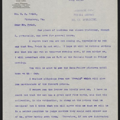 Letter from Roland F. Knoedler to Henry Clay Frick, 23 February 1898