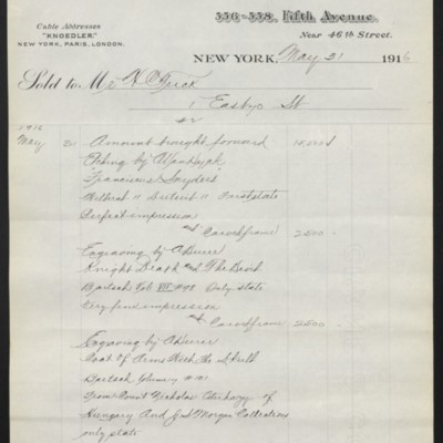 Invoice from M. Knoedler & Co. to Henry Clay Frick, 31 May 1916 [page 2 of 5]