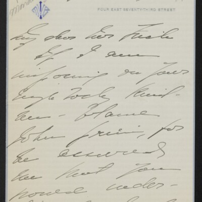 Letter from Mae Bell Van Ingen to [H.C.] Frick, circa 6 May 1918 [page 1 of 4]