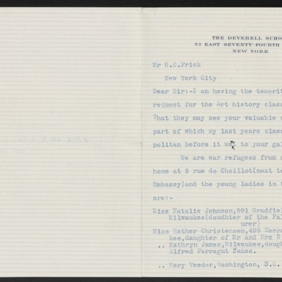 Letter from Frances E. Deverell to H.C. Frick, 29 February 1916 [page 1 of 2]