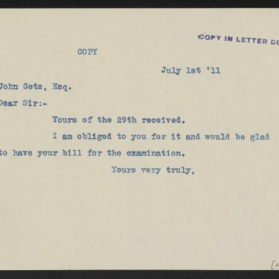 Letter from [Henry Clay Frick] to John Getz, 1 July 1911