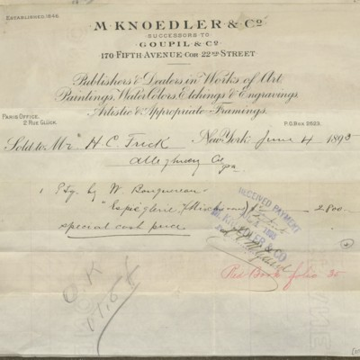 M. Knoedler & Co. Invoice, 4 June 1895