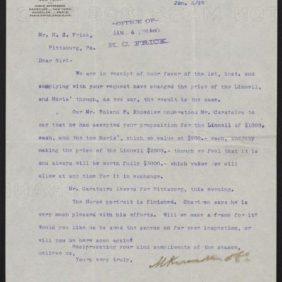 Letter from M. Knoedler & Co. to Henry Clay Frick, 3 January 1898
