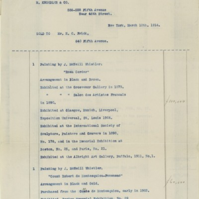 Typescript of an M. Knoedler & Co. Invoice, 18 March 1914
