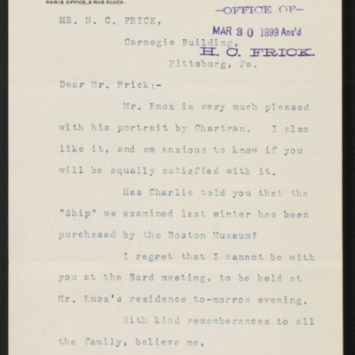 Letter from Roland F. Knoedler to Henry Clay Frick, 29 March 1899