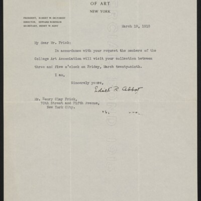 Letter from Edith R. Abbot to Henry Clay Frick, 19 March 1918