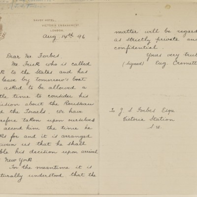 Letter from Eugene Cremetti to J.S. Forbes, 14 August 1896