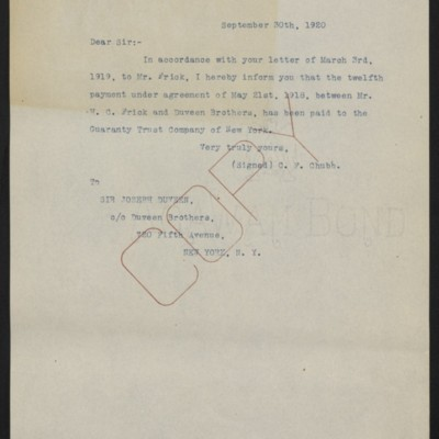Letter from C.F. Chubb to Joseph Duveen, 30 September 1920