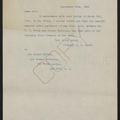 Letter fromC.F. Chubbto Joseph Duveen, 30 September 1920