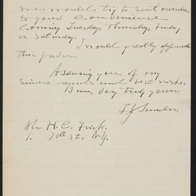 Letter from T.J. Sanders to H.C. Frick, 22 December 1918 [page 2 of 2]