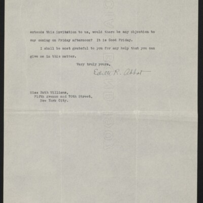 Letter from Edith R. Abbot to Ruth Williams, 2 October 1917 [page 2 of 2]