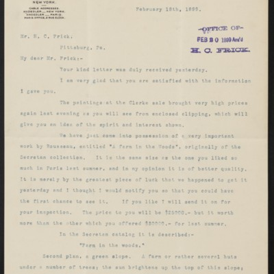 Letter from Charles L. Knoedler to Henry Clay Frick, 18 February 1899