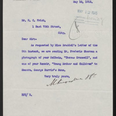 Letter from M. Knoedler & Co. to Henry Clay Frick, 10 May 2015