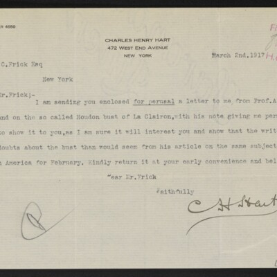Letter from Charles Henry Hart to Henry C. Frick, 2 March 1917