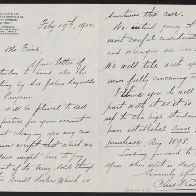 Letter from Charles S. Carstairs to Henry Clay Frick, 19 February 1902