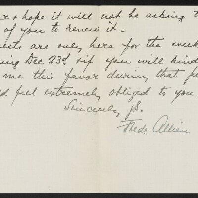 Letter from Frederick Allien to Henry C. Frick, 18 December 1918 [page 2 of 2]