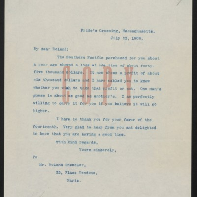Letter from Henry Clay Frick to Roland F. Knoedler, 23 July 1908