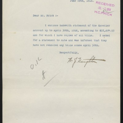 Letter from W.J. Naughton to [H.C.] Frick, 28 June 1918