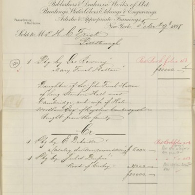 M. Knoedler & Co. Invoice, 9 February 1898