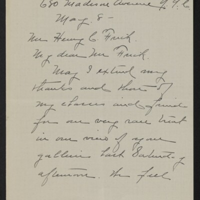 Letter from Clara Crawford Perkins to Henry C. Frick, 8 May 1918 [page 1 of 3]