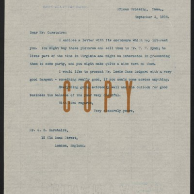 Letter from [H.C. Frick] to C.S. Carstairs, 3 September 1915