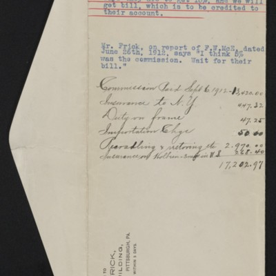 "Envelope with notes regarding commmission on Holbein's ""Sir Thomas More,"" 1912"