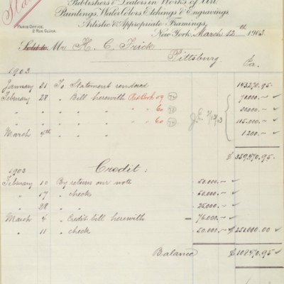 Account statement from M. Knoedler & Co., 12 March 1903