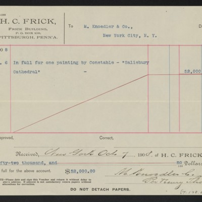 """Voucher to M. Knoedler & Co. for Constable's """"Saisbury Cathedral,"""" 6 October 1908 [back]"""