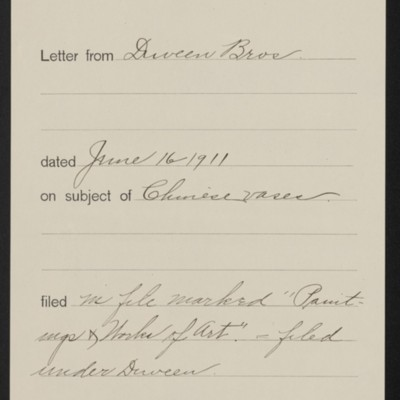 Memorandum, Office of Henry Clay Frick, 16 June 1911