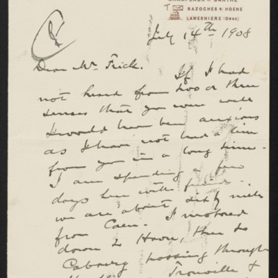 Letter from Roland F. Knoedler to Henry Clay Frick, 14 July 1908
