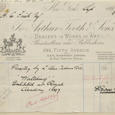 Arthur Tooth & Sons Invoice, September 1897