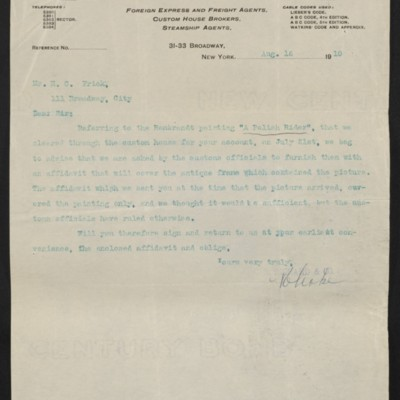 Letter from C.B. Richard & Co. to Henry Clay Frick, 16 August 1910
