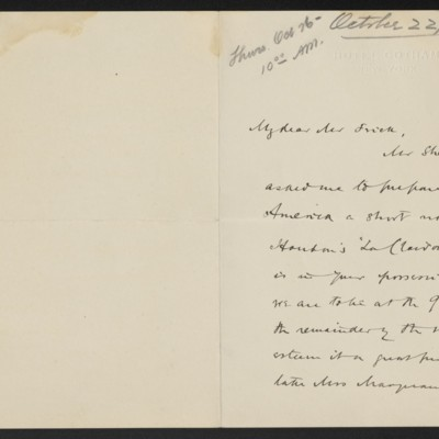 Letter from Allan Marquand to Henry C. Frick, 22 October 1916 [page 1 of 2]