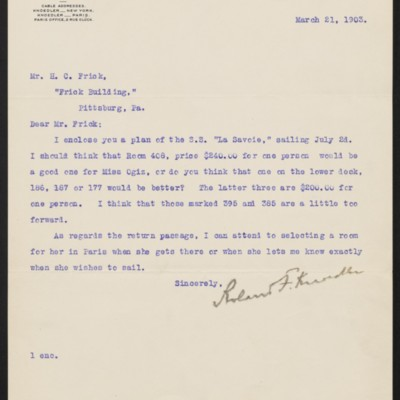 Letter from Roland F. Knoedler to Henry Clay Frick, 21 March 1903