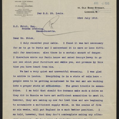Letter from Charles S. Carstairs to Henry Clay Frick, 23 July 1915