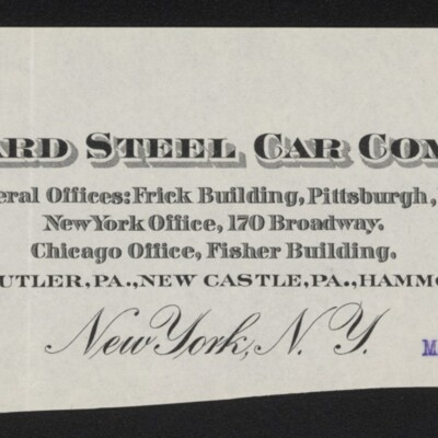 Fragment of stationery of R.L. Gordon, Vice President, Standard Steel Car Co., 6 March 1918