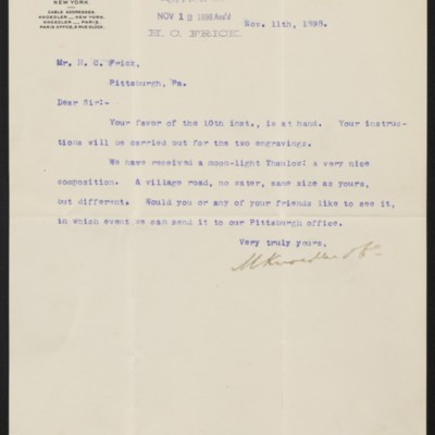 Letter from M. Knoedler & Co. to Henry Clay Frick, 11 November 1898