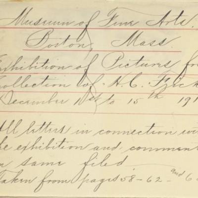 Memorandum prepared by Henry Clay Frick's secretary, December 1910