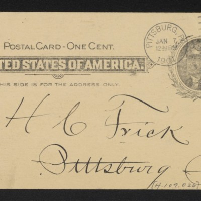 Postcard from Adams Express Company to Henry Clay Frick, 7 January 1901 [back]