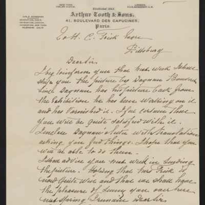 Letter from Edmond Simon of Arthur Tooth & Sons to Henry Clay Frick, 6 December 1900