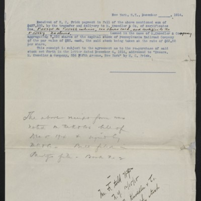 Copy of receipt from M. Knoedler & Co. for Pennsylvania Railroad Co. stock, December 1914