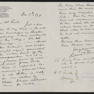 Letter from Roland F. Knoedler to Henry Clay Frick, 9 December 1898