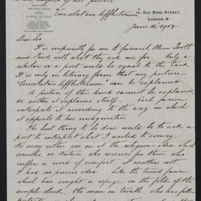 "Translation of a letter from Dagnan-Bouvert on the subject of his ""Consolatrix Afflictorum,"" 16 June 1903 [page 1 of 2]"